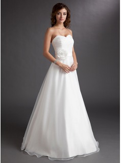 A-Line/Princess Sweetheart Floor-Length Organza Satin Wedding Dress With Ruffle Flower(s)
