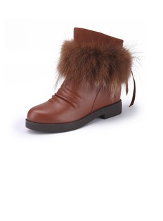 Flat Heel Ankle Boots With Lace-up Fur shoes (088039581)