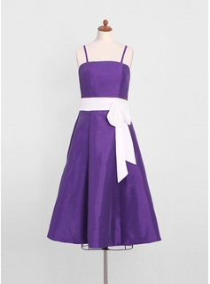 A-Line/Princess Tea-Length Taffeta Junior Bridesmaid Dress With Sash (009022499)