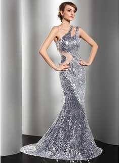 Mermaid One-Shoulder Sweep Train Tulle Sequined Evening Dress (017014549)