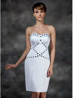 Sheath Sweetheart Knee-Length Satin Cocktail Dress With Beading