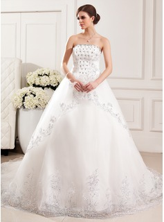 Ball-Gown Strapless Chapel Train Tulle Wedding Dress With Lace Beadwork Flower(s) Sequins (002019528)