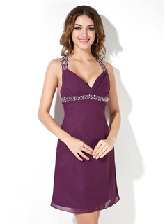 Empire V-neck Knee-Length Chiffon Cocktail Dress With Beading Sequins (016008216)