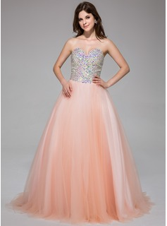 Ball-Gown Sweetheart Sweep Train Tulle Prom Dress With Beading