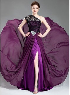 A-Line/Princess One-Shoulder Court Train Chiffon Lace Evening Dress With Beading (017019739)