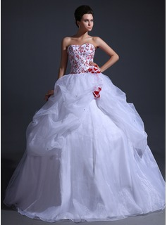 Ball-Gown Sweetheart Floor-Length Organza Wedding Dress With Ruffle Beadwork Flower(s)