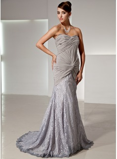 Trumpet/Mermaid Sweetheart Court Train Chiffon Lace Evening Dress With Ruffle
