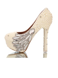 Women's Stiletto Heel Closed Toe Platform Pumps With Imitation Pearl Rhinestone