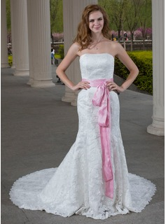 Mermaid Sweetheart Chapel Train Taffeta Lace Wedding Dress With Sashes (002000689)