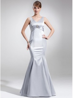Mermaid V-neck Floor-Length Charmeuse Mother of the Bride Dress With Ruffle Crystal Brooch