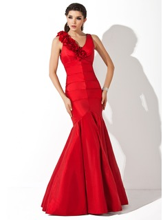 Mermaid V-neck Floor-Length Taffeta Evening Dress With Ruffle Flower(s)