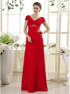 Empire V-neck Floor-Length Chiffon Mother of the Bride Dress With Ruffle Crystal Brooch