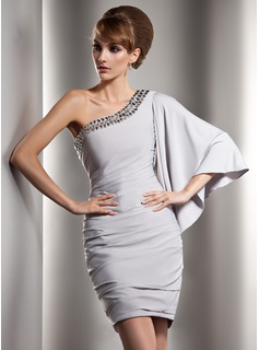 Sheath One-Shoulder Short/Mini Charmeuse Cocktail Dress With Ruffle Beading (016008908)