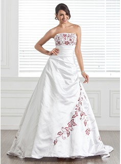 A-Line/Princess Strapless Chapel Train Satin Wedding Dress With Embroidery Beadwork
