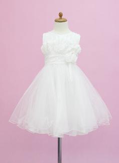 A-Line/Princess Scoop Neck Tea-Length Tulle Flower Girl Dress With Beading Flower(s)