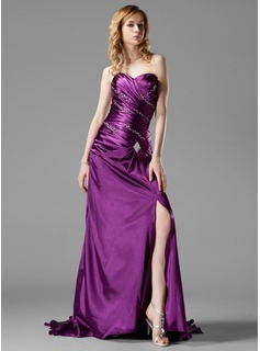 A-Line/Princess Sweetheart Court Train Charmeuse Prom Dress With Ruffle Beading Split Front