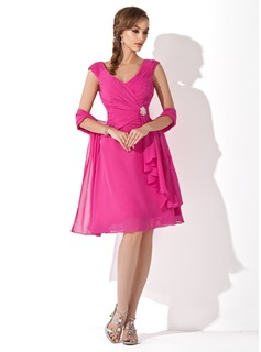 A-Line/Princess V-neck Knee-Length Chiffon Mother of the Bride Dress With Ruffle Crystal Brooch