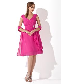 Corte A/Princesa Escote en V Hasta la rodilla Chifón Vestido de madrina con Alfiler Flor Cristal Cascada de volantes