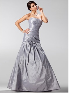 A-Line/Princess Strapless Floor-Length Taffeta Prom Dress With Ruffle (018005225)