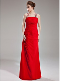 Sheath Halter Floor-Length Chiffon Evening Dress With Ruffle Beading Sequins
