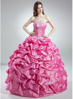 Ball-Gown Sweetheart Floor-Length Taffeta Quinceanera Dress With Ruffle Lace Beading Sequins