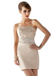 Sheath Scalloped Neck Short/Mini Satin Cocktail Dress With Beading Sequins