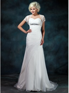 Sheath/Column Sweetheart Court Train Organza Wedding Dress With Ruffle Beadwork