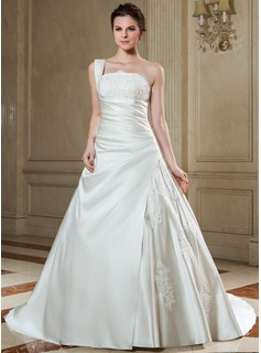 Ball-Gown One-Shoulder Chapel Train Satin Wedding Dress With Ruffle Lace Beadwork