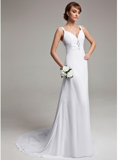 A-Line/Princess V-neck Court Train Chiffon Wedding Dress With Ruffle Beadwork