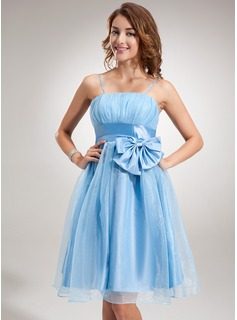 Empire Knee-Length Taffeta Organza Homecoming Dress With Ruffle Bow(s)