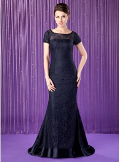 Trumpet/Mermaid Scoop Neck Sweep Train Charmeuse Lace Mother of the Bride Dress With Beading Sequins