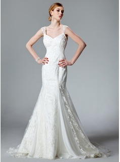 Mermaid V-neck Watteau Train Chiffon Charmeuse Lace Wedding Dress With Ruffle Beadwork (002000128)