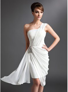 Sheath One-Shoulder Asymmetrical Chiffon Cocktail Dress With Ruffle Beading (016024431)