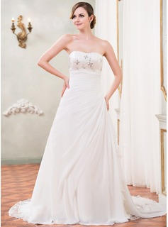 A-Line/Princess Sweetheart Cathedral Train Chiffon Sequined Wedding Dress With Beading Sequins Cascading Ruffles