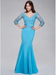 Mermaid V-neck Floor-Length Chiffon Tulle Charmeuse Evening Dress With Lace Beading Sequins