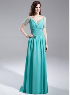A-Line/Princess Off-the-Shoulder Sweep Train Chiffon Organza Prom Dress With Ruffle Beading