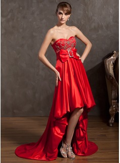 A-Line/Princess Sweetheart Asymmetrical Charmeuse Holiday Dress With Beading Bow(s)