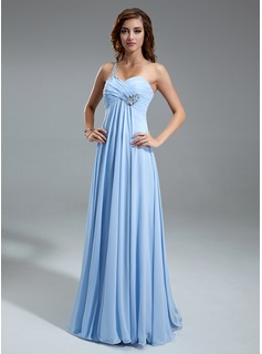 Empire One-Shoulder Floor-Length Chiffon Prom Dress With Ruffle Beading (018021100)