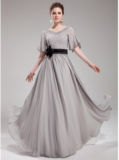 A-Line/Princess V-neck Floor-Length Chiffon Charmeuse Evening Dress With Sash Beading Flower(s) Sequins