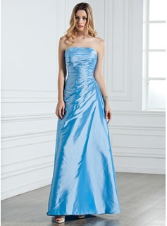 Sheath Strapless Floor-Length Taffeta Bridesmaid Dress With Ruffle Beading (007001076)