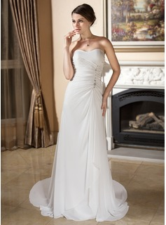 Sheath/Column Sweetheart Court Train Chiffon Wedding Dress With Ruffle Beadwork