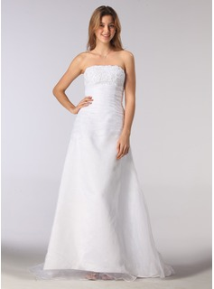 A-Line/Princess Strapless Court Train Organza Satin Wedding Dress With Ruffle Beadwork (002001219)