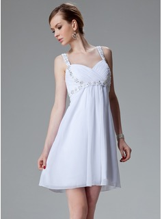Empire Sweetheart Short/Mini Chiffon Taffeta Homecoming Dress With Ruffle Beading Sequins
