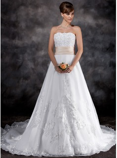 A-Line/Princess Strapless Chapel Train Organza Satin Wedding Dress With Lace Sashes Beadwork