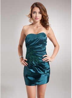 Sheath Sweetheart Short/Mini Charmeuse Cocktail Dress With Ruffle Lace Beading Sequins (016021288)
