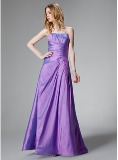 A-Line/Princess Sweetheart Floor-Length Taffeta Bridesmaid Dress With Ruffle Lace