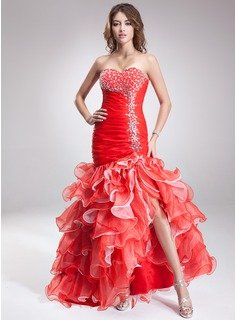 Trumpet/Mermaid Sweetheart Asymmetrical Organza Satin Prom Dress With Beading Split Front Cascading Ruffles