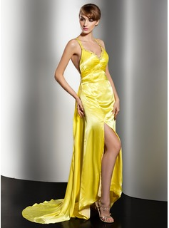 Sheath/Column V-neck Watteau Train Charmeuse Evening Dress With Ruffle Beading Appliques Sequins Split Front