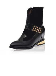 Real Leather Wedge Heel Ankle Boots With Rivet shoes