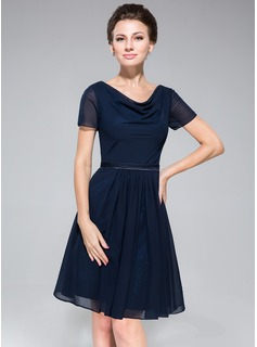 A-Line/Princess Cowl Neck Knee-Length Chiffon Charmeuse Bridesmaid Dress With Ruffle